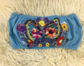 Recon embroidered festival bandeau top