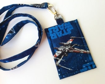 Lanyard ID Holder / Star Wars X-Wing Starfighter Cotton Clip On ID Holder with Hidden Cash Stash and Matching Lanyard