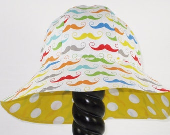 Sun Hat, Sun Hat, REVERSIBLE Sun Hat,  Kids Mustache  Sun Hat