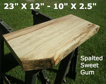 Live Edge Spalted Sweet Gum Finished Wood Slab Side Table Top, DIY Floating Shelf, Natural Edge Shelving, Coffee Table, Foyer Table Top 0009