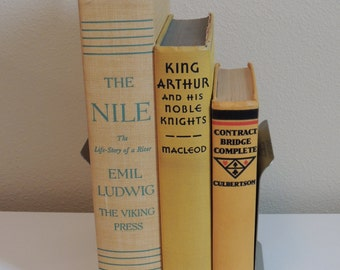 VINTAGE Yellow Book Stack THREE (3) 1940s Books Photo Props Yellow Books Instant Library Wedding Decor Instant Library