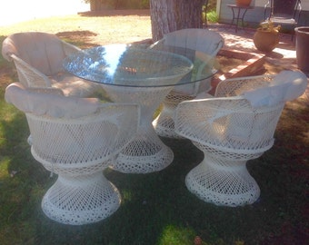 Russell Woodard Spun Fiberglass Patio Set with Swivel Arm Chairs - Best Offers Accepted