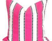 PINK Pillows, Pink Pillow Cover, Stripe Decorative Pillow, Pink Throw Pillow, Pink Stripe Pillows, Pink Accent Pillow, Pink Euro, Cushion