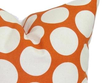ORANGE PILLOW Sale.12x16 or 12x18 inch.Pillow Cover.Decorative Pillows.Housewares.Polka Dots.Orange.Burnt Orange.Polka Dot Pillow.Home Decor