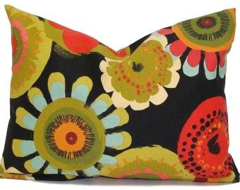 BLACK PILLOW.16x24, 12x20 or 16x20 inch.Pillow.Pillow Covers.Decorative Pillows.Housewares.Black Floral Pillow.Indoor. Outdoor.Green.Black