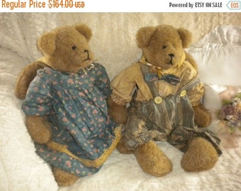 SUMMER SALE SALE.....Set of 2 Large Adorable Hand crafted Bunny Bears,Primitive,Nursery,One of a Kind,Country,Collectibles