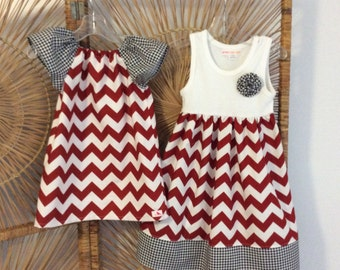SISTER SET for ALABAMA! Pair our flutter sleeve Phoebe with our tank dress..Crimson chevron accented with black houndstooth..