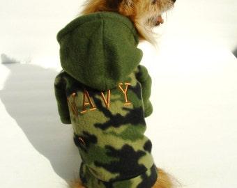Dog Hoodie, Green Camo Fleece Hoodie, NAVY Embroider On The Back, Soft Pet Hoodie