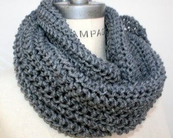 Best selling items, Grey gray hand knit knitted infinity scarf, womens gift for women, gift for men accessories - by PiYOYO