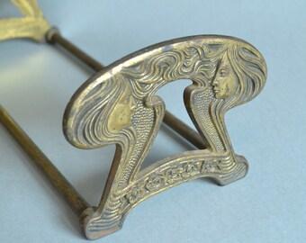 Vintage Art Nouveau Book Ends Art Nouveau Bookstand Book Holder Metal Book Stand Metal Book Rack Judd Book Ends