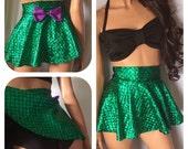 MYSTICAL- high waist mermaid skirted bikini, halter black top, skirt high waist bikini, waistband high waist bikini, Plus size bikini