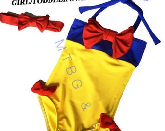 SNOW- Snow white bathingsuit, cute bathing suit for girls, snow white bathing suit, Snow White bikini, snow white outfit,snow white swimsuit