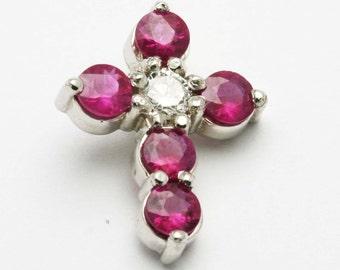 Handmade 14 white gold Red Ruby Diamond Cross Pendant 1.25 carat New
