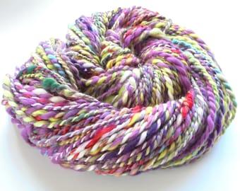 Soft Handspun Yarn, FIELD OF LAVENDER, Merino Yarn, Silk Handspun, Bamboo Super Bulky Yarn, Chunky Yarn, 2-Ply Handspun 88 yards and 3.8 oz
