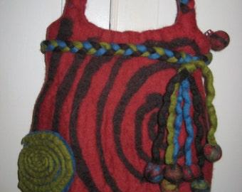 Vintage RISING TIDE Wool Art Purse