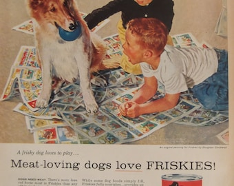 FRISKIES DOG FOOD Original Vintage 1950s Advertisement Additional Ads Ship Free Ready To Frame