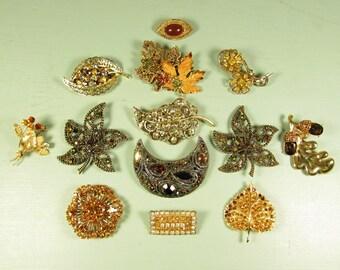 13 Piece Leaf Brooch Lot - Vintage Rhinestone Enamel Autumn Fall Amber