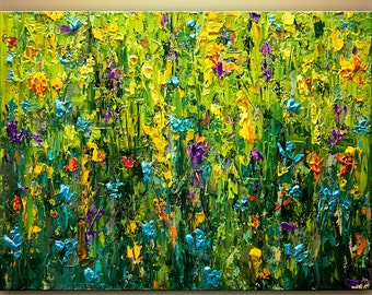 "Colorful Textured floral painting 40"" x 30""  Acrylic painting contemporary wall flower bloom MADE-TO-ORDER by Osnat"