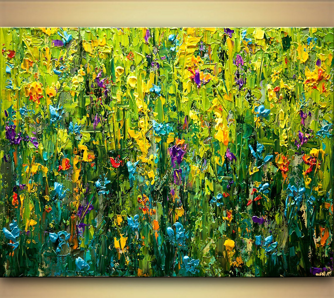 Colorful textured floral painting 40 x 30 acrylic for Floral acrylic paintings