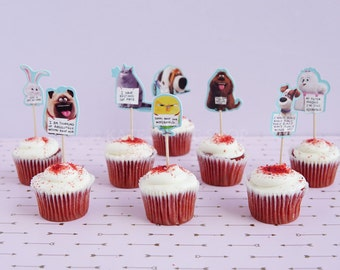 24 Secret Life of Pets cupcake toppers secret life if pets cake toppers food picks double sided