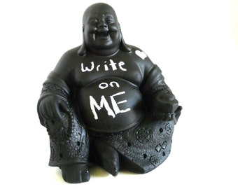 chalkboard buddha statue, laughing buddha, office decor, modern desk accessories, office organization