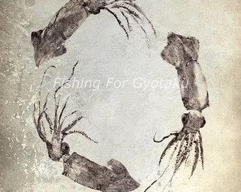 SQUID WREATH Gyotaku print - traditional Japanese fish art - by dwight hwang