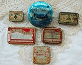 Vintage French, apothecary tins, pharmacy tins, instant collection, medical tins, old French tins, small vintage tins, set of 6