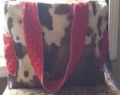 Cow hide western diaper bag or tote