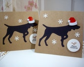 german shorthaired pointer christmas card, dog with santa hat card, pointer christmas card, dog christmas card, 2 cards