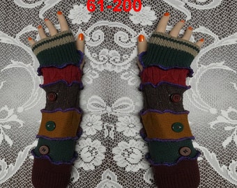 Arm warmers, size L, size XL, Fingerless, elf coat, Gloves, women, patchwork, Upcycled, Cosplay, Gift, mittens, knit,