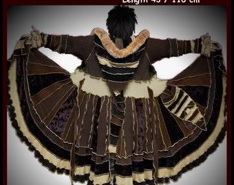 Elf coat, eLF sWEATER, size L, size XL, fairy, dress, women hoodie, sweater coat, patchwork , Recycled dress, OOAK, dream coat