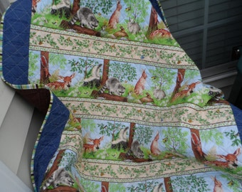 Woodland Babies Quilt - Baby Quilt - Patchwork Quilt - Crib Quilt  - Lap Quilt - Baby Animals Throw - Homemade Quilt