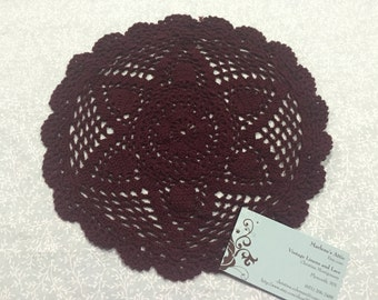 Doily, Vintage 10 inch Maroon crochet doily for housewares, home decor, pillows, christmas, holiday, bags by MarlenesAttic