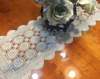 Vintage Ivory Hand Crochet lace table runner dresser scarf for housewares, home decor, vases, flowers by MarlenesAttic
