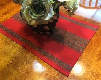Vintage Red and Green Woven Christmas or Holiday Table Runner for housewares, home decor by MarlenesAttic
