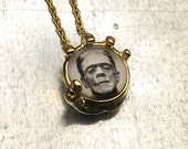 Frankenstein Necklace, In the Palm of My Hand Necklace, Modern Prometheus Necklace, Gold Plate Necklace, Holiday Gift