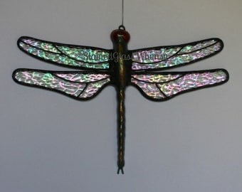 """Stained Glass DRAGONFLY Suncatcher, """"Sparkling Crystal Ice"""", Clear Rainbow Iridescent Wings, Handcast Metal Body, USA Handmade Original"""