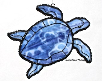 Stained Glass SEA TURTLE Suncatcher - Blues, Purples , with White - USA Handmade Original Design