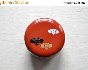 ON SALE Vintage Dark Orange Lacquerware Box