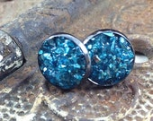 Silver and Turquoise Post Style Earrings, Druzy Look Earrings, Turquoise and Silver Earrings that Glitter and Sparkle, Stud Earrings