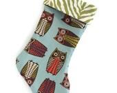 Owl Christmas Stocking, Teen Christmas Stocking, Girl Christmas Stocking, Funky Owl, Christmas Stocking, Custom Christmas Stocking