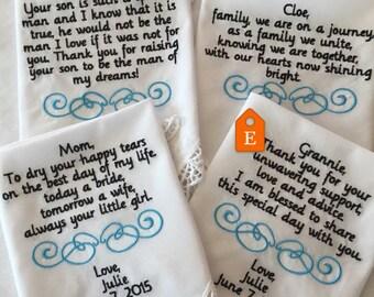 4  Custom wedding Handkerchiefs gift set, bride and groom's parents