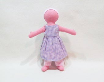 """SALE 11"""" Pink Eco friendly soft hemp linen doll with purple and pink flower sundress outfit   machine washable and baby safe"""