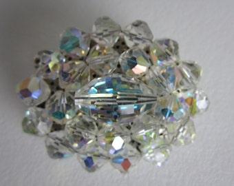 Aurora Borealis Glass Brooch Pin Vintage Oval Shape Retro Style Sparkling Gift Idea