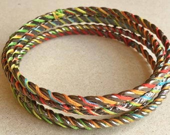 vintage boho hippie festival wear gun metal gray bangle bracelets wrapped with multi colored cotton thread--two widths--lot of 5