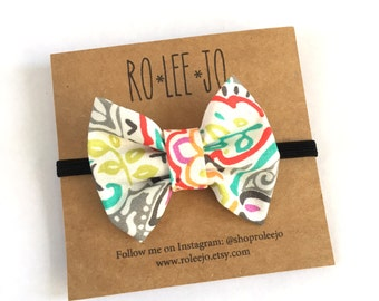 Spring Floral Fabric Bow Headband; Baby Girl, Hair Accessories
