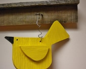 Folk Art Bird Ornament Made To Order, Yellow Canary Painted Wood Ornie, Primitive Spring Decor