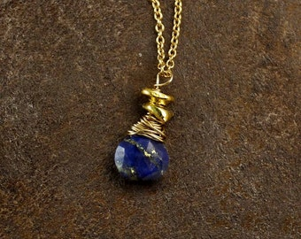 Lapis Lazuli Necklace. Birthstone Necklace. Birthstone Options. Vermeil, Silver or Black Silver. NM-1959