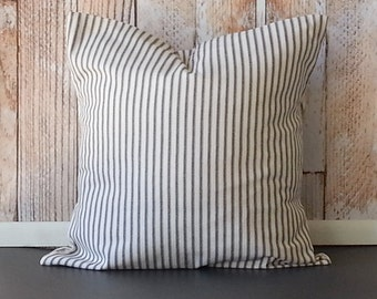Ticking Pillow -  Ticking Stripe Pillow - Black Ticking Pillow - FULLY LINED - Black Stripe Pillow - Ticking Throw Pillow -  French Ticking