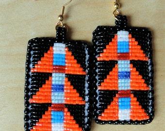 Beaded Earrings, Geometric Lizard Spines in Orange